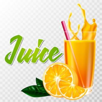 Vidro realista de suco de laranja com frutas e splash