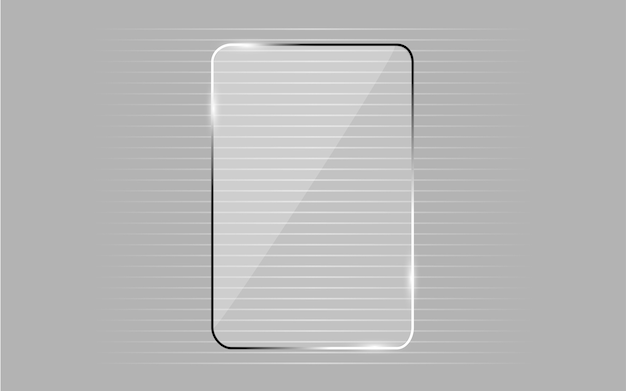 Vidro transparente brilhante isolado em fundo cinza