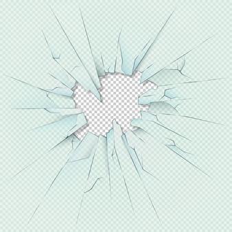 Vidro transparente quebrado em fundo xadrez quadriculado. ilustração conservada em estoque