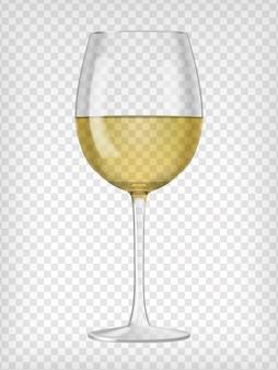 Vidro transparente realista, cheio de vinho branco