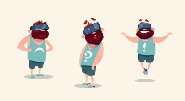 Vidros de digitas da realidade virtual de desgaste de homem que sentem emoções diferentes