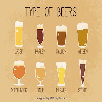Vidros do vintage com diferentes cervejas