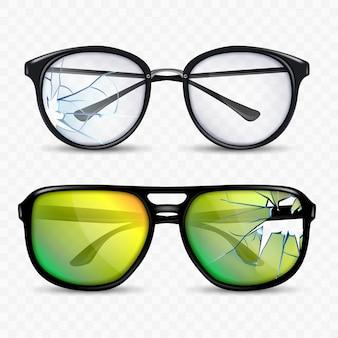 Vidros quebrados e conjunto de acessórios para óculos