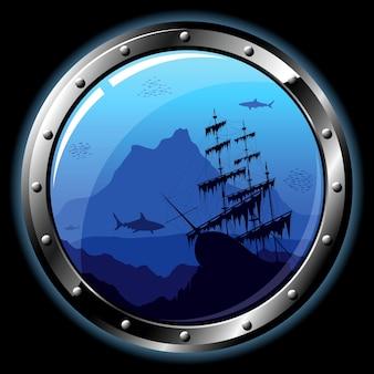 Vigia de aço com vista da vida subaquática