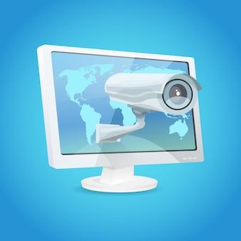 Vigilância câmera e monitor