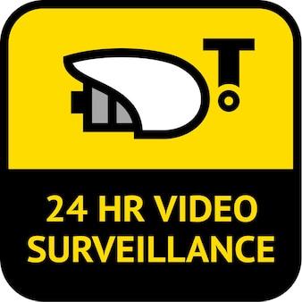 Vigilância por vídeo, etiqueta em formato quadrado