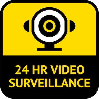 Vigilância por vídeo, forma quadrada de etiqueta de cctv, ilustração vetorial