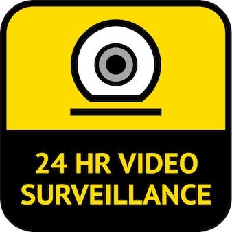 Vigilância por vídeo, formato quadrado de rótulo de cctv, ilustração vetorial