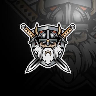 Viking com um par de espadas e escudo logo gaming esport