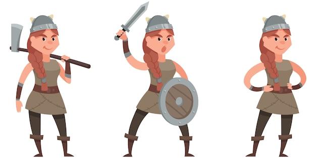 Viking em diferentes poses. personagem feminina em estilo cartoon.