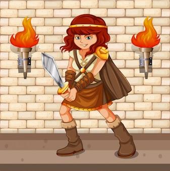 Viking feminino com espada de prata