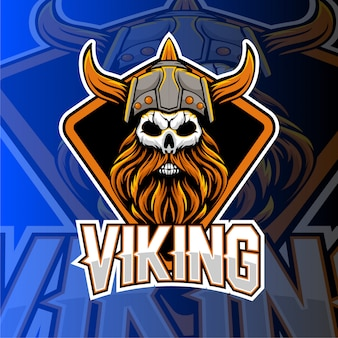 Viking gaming e emblema do logotipo de esportes