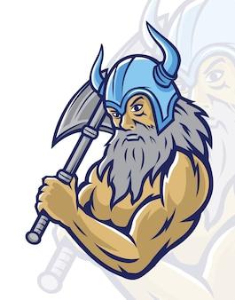 Viking guerreiro holding ax mascote