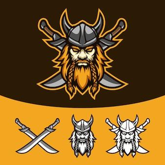 Viking valente com conjunto de logotipo de mascote de duas espadas esport