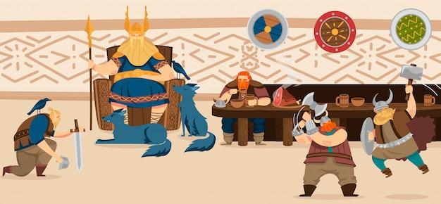 Vikings e guerreiros escandinavos repastam a ilustração dos desenhos animados da arte cômica da mitologia da história da escandinávia.