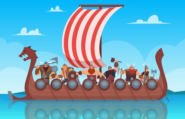 Vikings navio de batalha. barco de história de viagens com fundo de desenho animado de guerreiro de vikings na noruega
