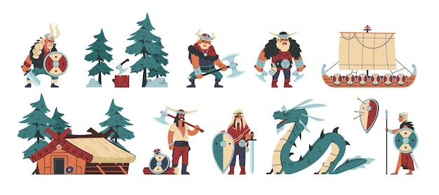 Vikings. personagens bárbaros dos desenhos animados com arma e armadura de aço e couro, ilustração engraçada escandinava. conjunto plano de bárbaros de caráter isolado de história vetorial