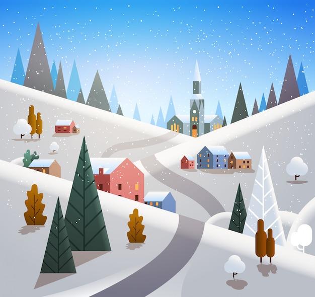 Vila de inverno casas montanhas colinas paisagem queda de neve