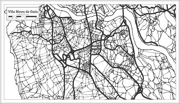 Vila nova de gaia portugal mapa da cidade em estilo retro. mapa de contorno. ilustração vetorial.