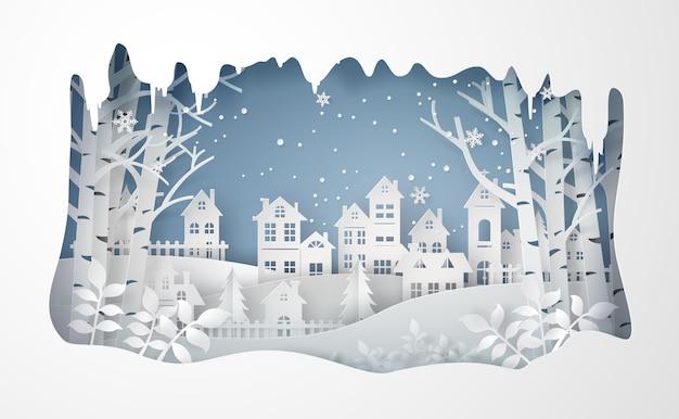 Vila urbana da cidade da paisagem do campo da neve do inverno.