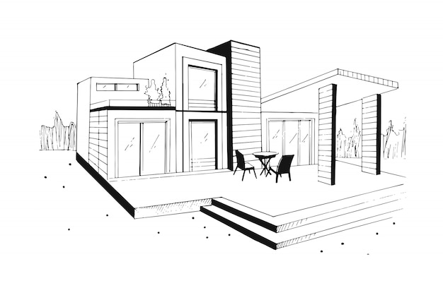 Villa desenhada de mão. casa residencial privada moderna. ilustração a preto e branco de desenho.