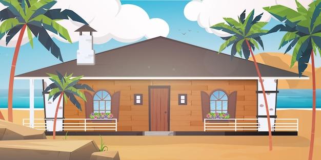 Villa em uma praia de areia com palmeiras. conceito de férias de verão