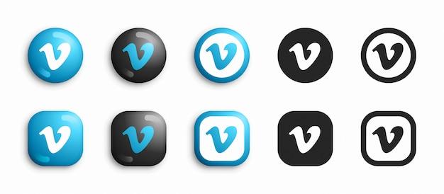 Vimeo moderno 3d e conjunto de ícones plana