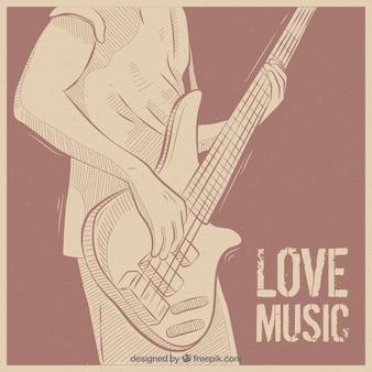 Vindima, fundo, guitarra, jogador