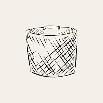 Vindima, ilustração, de, um, cesta