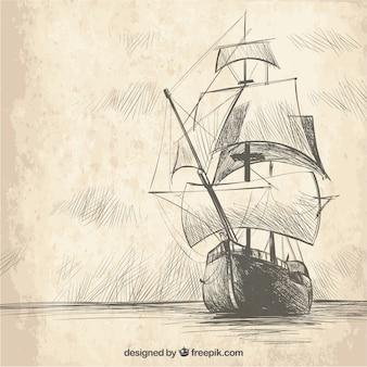Vindima, mão, desenhado, galleon, fundo