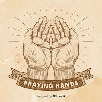 Vindima, orando, mãos, fundo