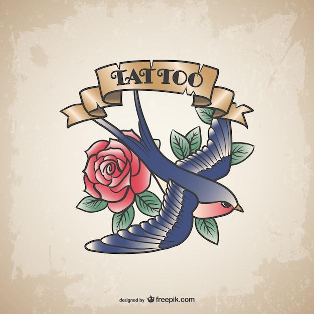 Vindima tatuagem de flor pássaro