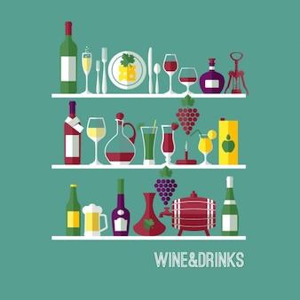 Vine fundo plana composição wine bar