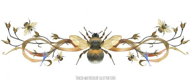Vinheta com abelhas e plantas