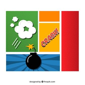 Vinhetas coloridas com uma bomba