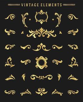 Vinhetas de ornamentos vintage definir elementos florais para design