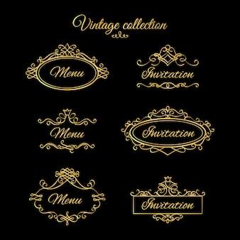 Vinhetas e molduras caligráficas douradas