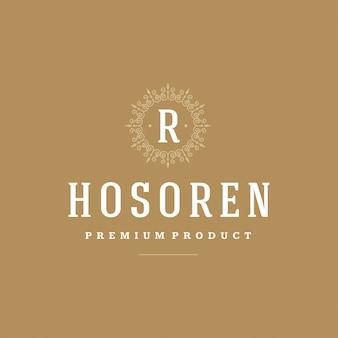 Vinhetas elegantes dos ornamento dos flourishes do vetor do molde do monograma do logotipo do vintage.