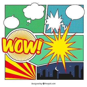 Vinhetas em quadrinhos criados com efeitos e balões de diálogo