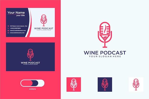 Vinho com design de logotipo de podcast e cartão de visita