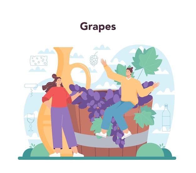Vinho conceito vinho de uva em uma garrafa e um copo cheio de bebida alcoólica