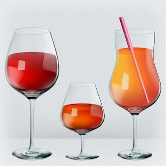 Vinho, conhaque, coquetel em vidros realistas transparentes.