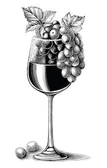 Vinho de uva com vidro desenhado à mão gravura vintage estilo clip-art preto e branco isolado no fundo branco Vetor Premium