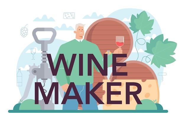 Vinho de uva de cabeçalho tipográfico de fabricante de vinhos em um barril de madeira