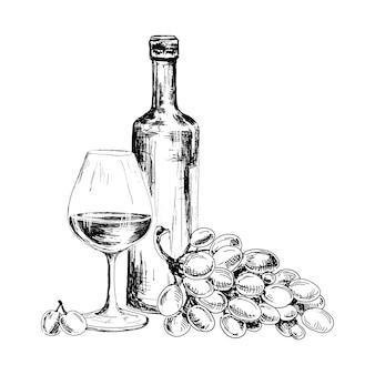 Vinho e cacho de uvas