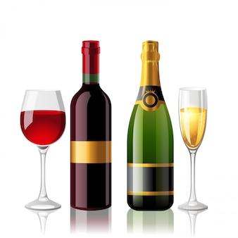 Vinho e champaigne