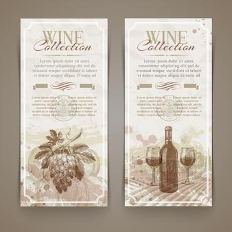 Vinho e vinificação - banners vintage grunge com elementos de mão desenhada