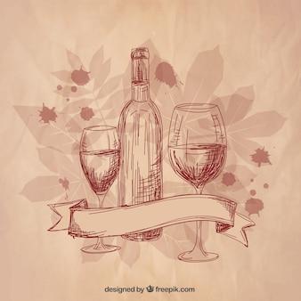 Vinho esboçado e taças de vinho