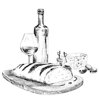 Vinho, pão e queijo azul