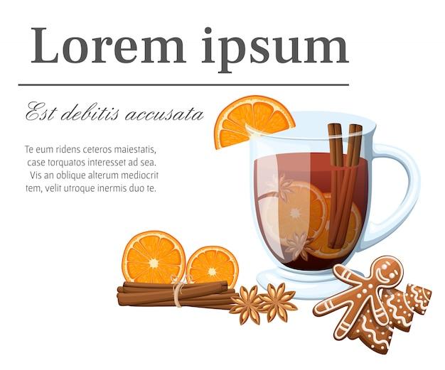 Vinho quente com uma fatia de pão de mel de laranja e pau de canela em uma ilustração de copo transparente com lugar para seu texto em fundo branco